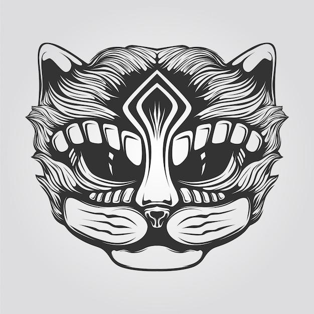 Black and white line art of cat Premium Vector