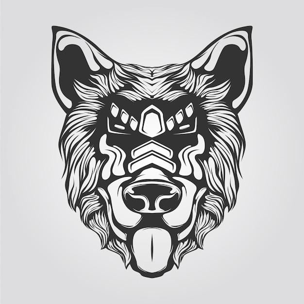 Black and white line art of dog Premium Vector