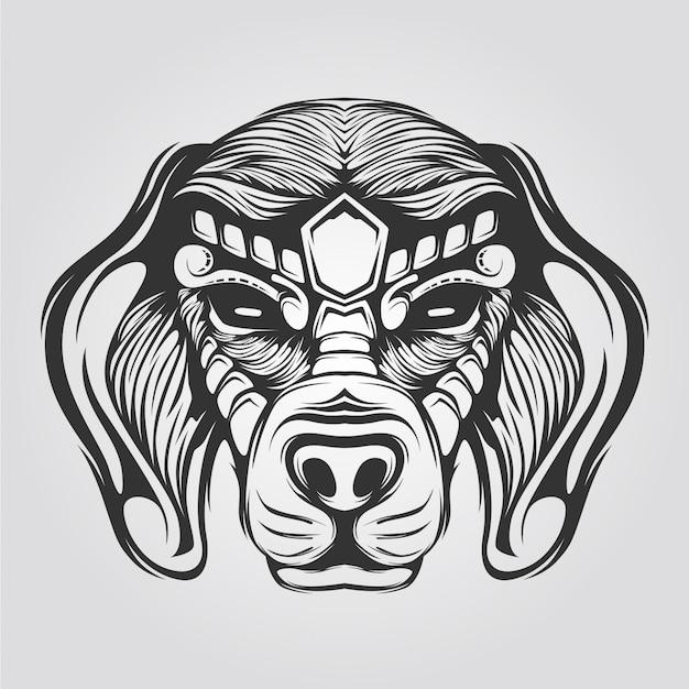Black and white line dog head Vector | Premium Download
