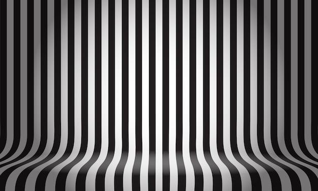 黒と白のラインパターンスタジオは、空のスペースの背景を表示します Premiumベクター