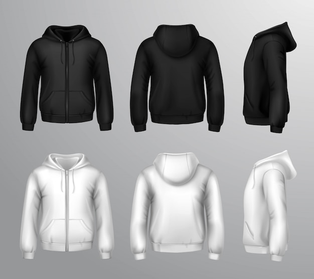 Black and white male hooded sweatshirts Free Vector