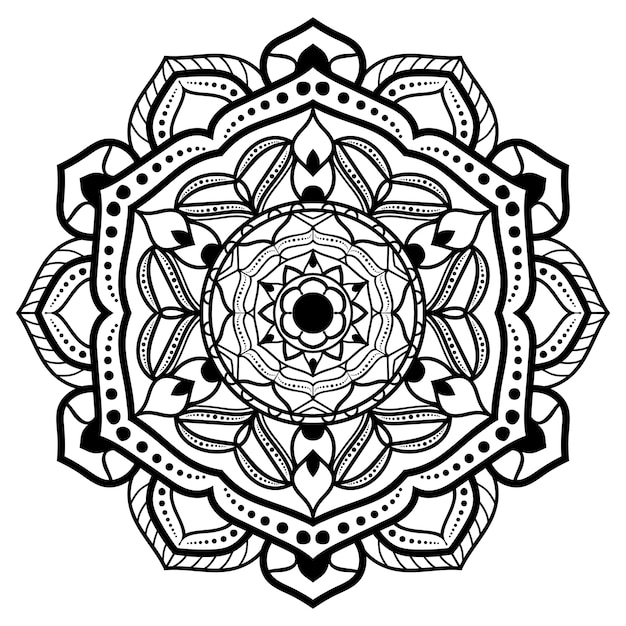 Black and white mandala drawing Premium Vector