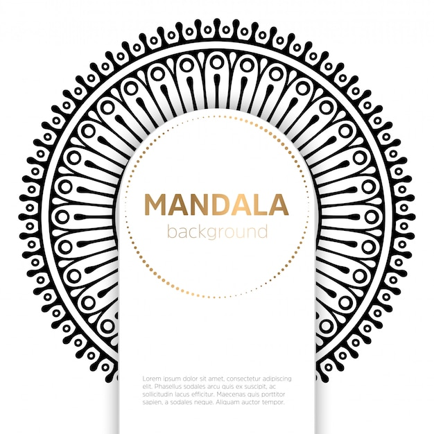 Black and white mandala template background Free Vector