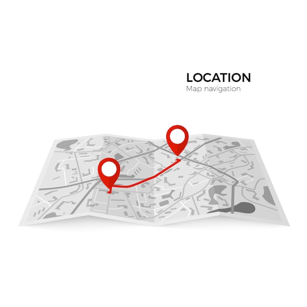 Black and white map with red pointers of the starting point of the route and the final. gps navigator red color pin checking point to point route.  illustration  on white background Premium Vector