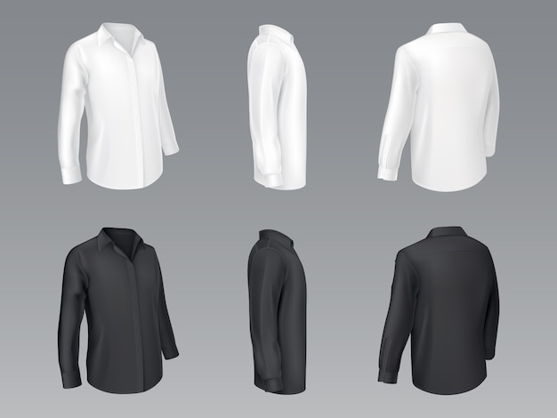Black and white mens classic shirts, womens blouse Free Vector