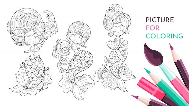 Black and white mermaid to draw Premium Vector