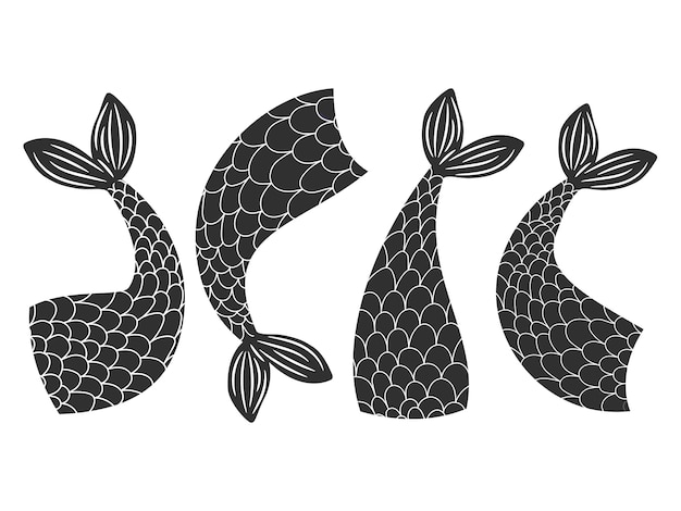 Black and white mermaids tails collection Premium Vector