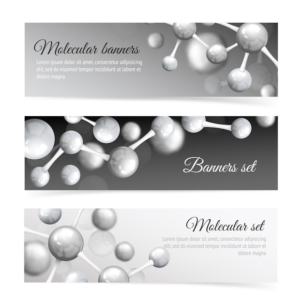 Black and white molecule banner template set Free Vector