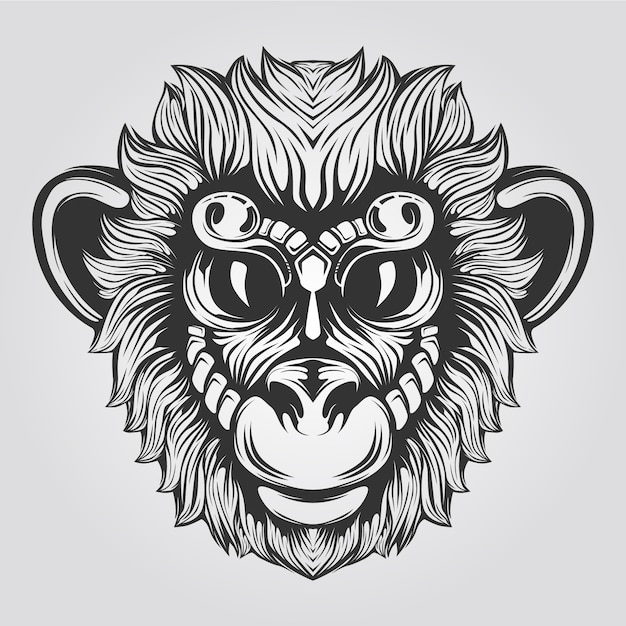 Black and white monkey line  with big eyes Premium Vector