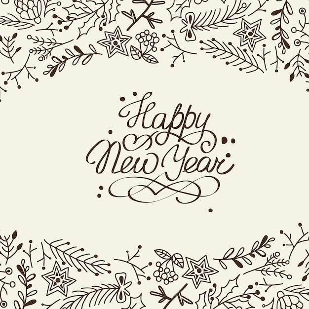 Black and white new year card Free Vector