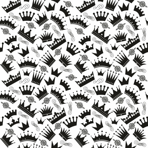 Black and white pattern with crowns Free Vector