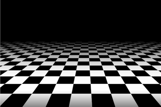 Black and white perspective checkered background - vector. Premium Vector