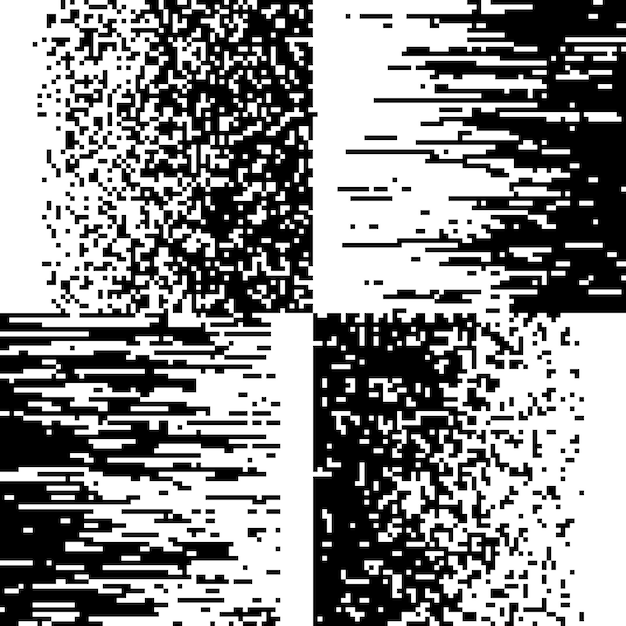Black and white pixel mosaic collection Premium Vector