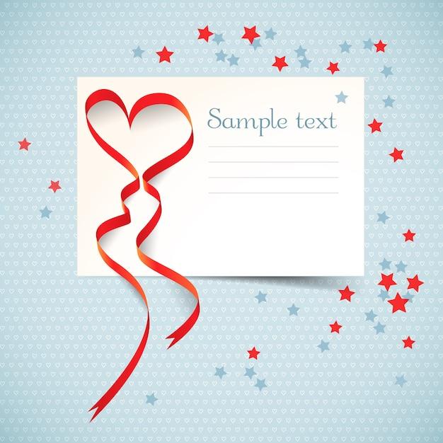 Черно-белая открытка с текстовым полем и красной сердечной лентой с красочными звездами плоская векторная иллюстрация Бесплатные векторы