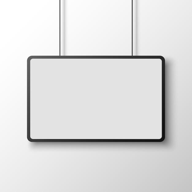 Black and white rectangular poster on white wall. banner.  illustration. Premium Vector