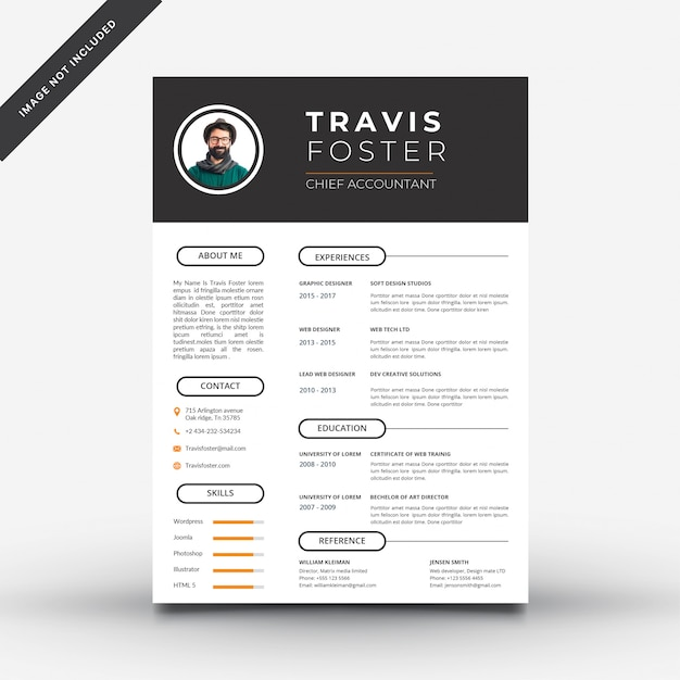 Black and white resume template with orange details Premium Vector