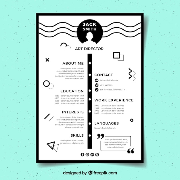 black and white resume template vector
