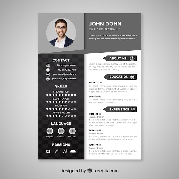 Black and white resume template Vector | Free Download