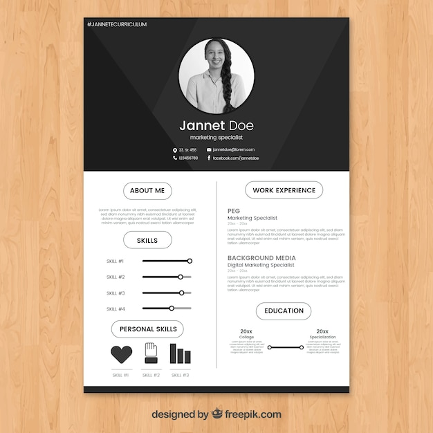 Black and white resume template Free Vector