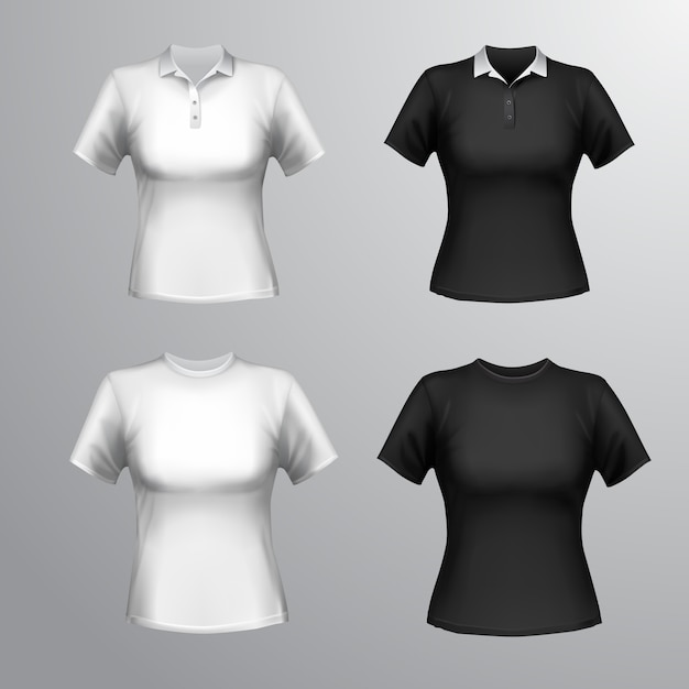 Black and white round neck and polo short sleeve t-shirts female set isolated vector illustration Premium Vector