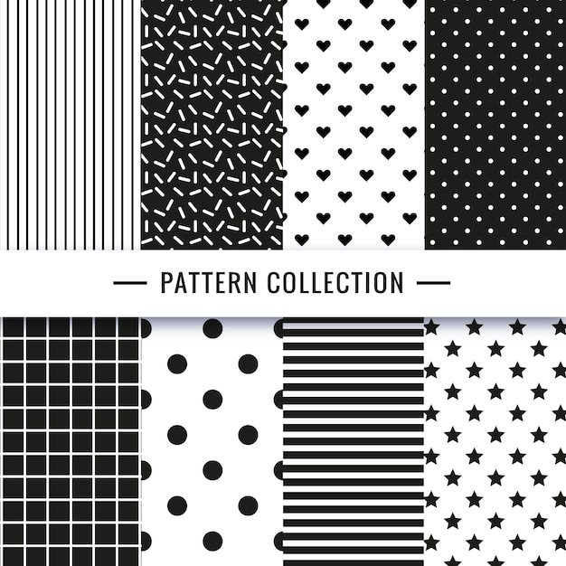 Black and white seamless pattern collection Free Vector
