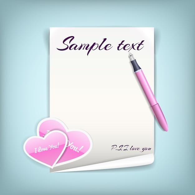Черно-белый лист бумаги с розовыми сердечками для любовного письма с ручкой Бесплатные векторы
