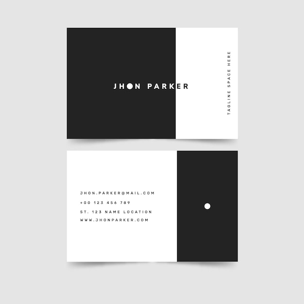 Black and white simple design business card template Free Vector