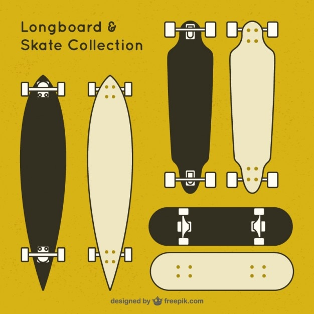 Black and white skate collection Free Vector