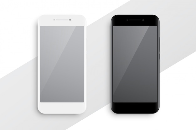 Black and white smartphone mockup Free Vector