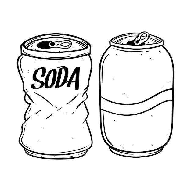 Premium Vector | Black and white soda can