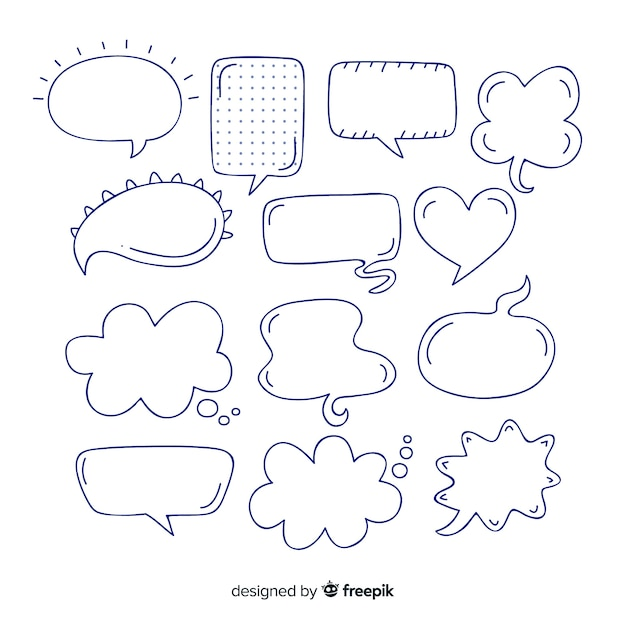 Black and white speech bubble collection Free Vector