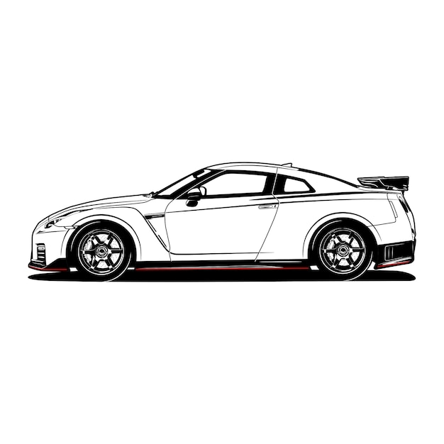 Black and white sport car hand drawn Premium Vector