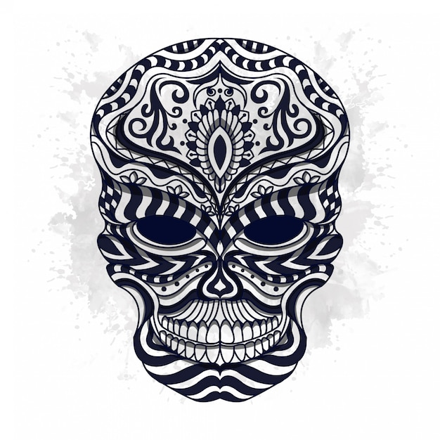 Black and white stylized skull in ethnic stylevector Premium Vector