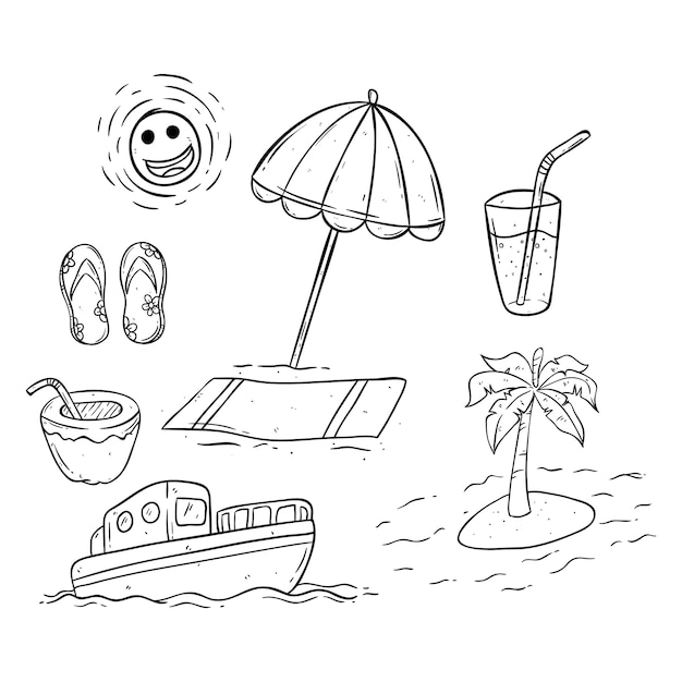 premium vector black and white summer icons collection https www freepik com profile preagreement getstarted 2392945