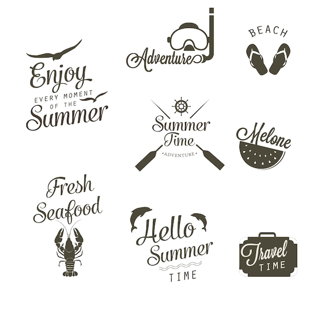Black and white summer logo collection Free Vector