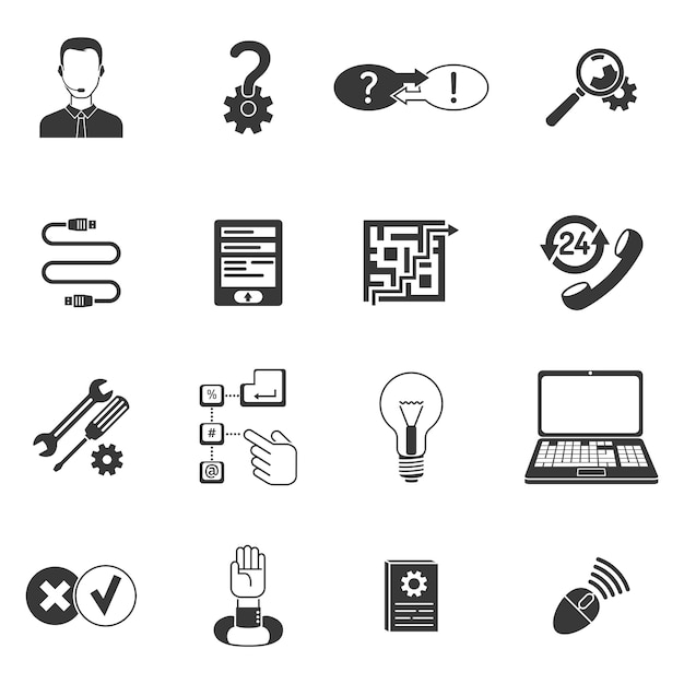 Black and white support icon set Premium Vector