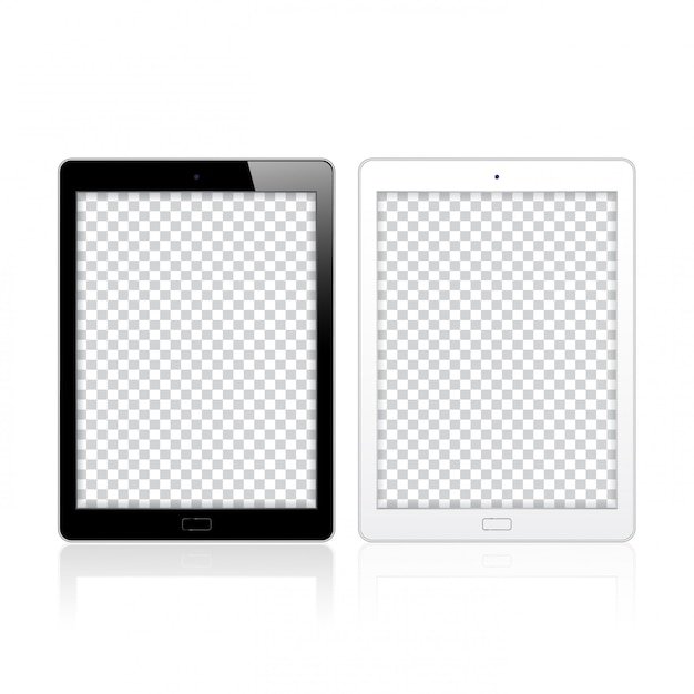 Black and white tablet pc computers for mockup and template Premium Vector