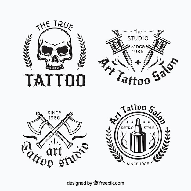 Black and white tattoo logo collection Free Vector