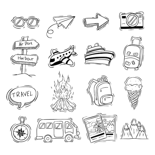 Black and white travel icons collection with doodle style Premium Vector