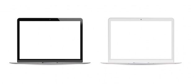 Black and white version laptop pc set white lcd Premium Vector