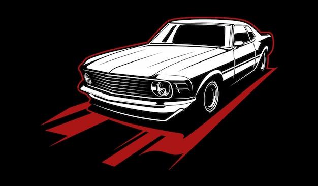 Black and white vintage car Premium Vector