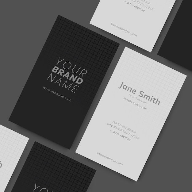 Black and white visit cards Free Vector