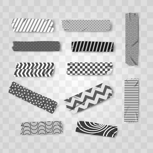 Black and white washi realistic tape pattern Premium Vector