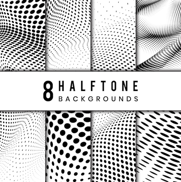 Black and white wavy halftone background vector set Free Vector
