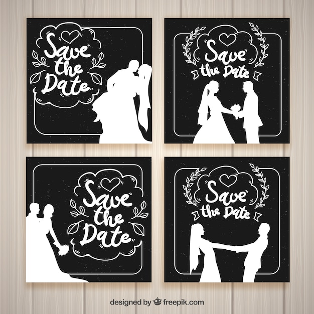Black And White Wedding Invitation Templates Vector