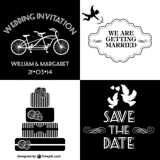 Black And White Wedding Invitations Collection Vector Free