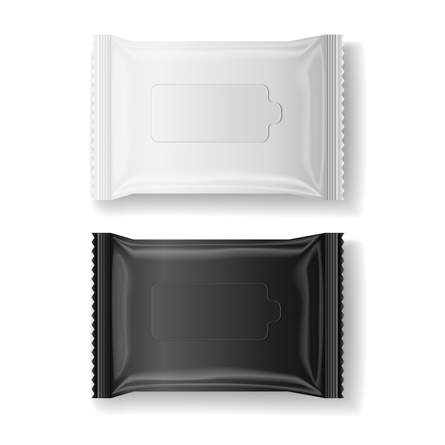 Black White Wet Wipes Package Realistic Vector Premium Vector