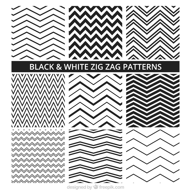 Black and white zig zag patterns Free Vector