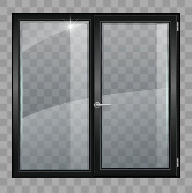 Black window with transparent glass Premium Vector