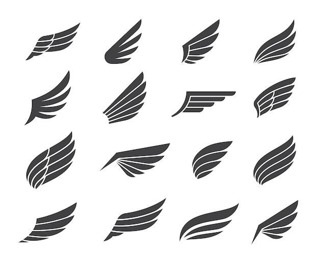 Black wing icon elements Premium Vector